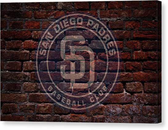 San Diego Padres Canvas Print - Padres Baseball Graffiti On Brick  by Movie Poster Prints
