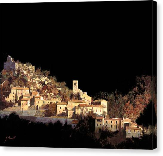 Night Lights Canvas Print - Paesaggio Scuro by Guido Borelli