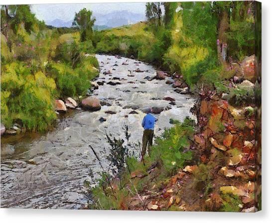 Pagosa Springs Colorado Fisherman Canvas Print