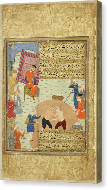 Wrestling Canvas Print - Pahlawan Mahmud Wrestling by British Library