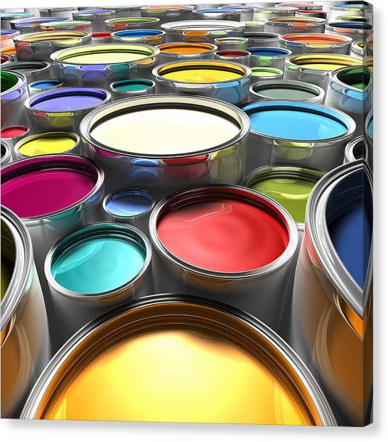 Paint Cans With Open Lids (digital) Canvas Print by Ian McKinnell