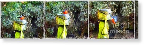 Painted Bullfinch Trio Canvas Print
