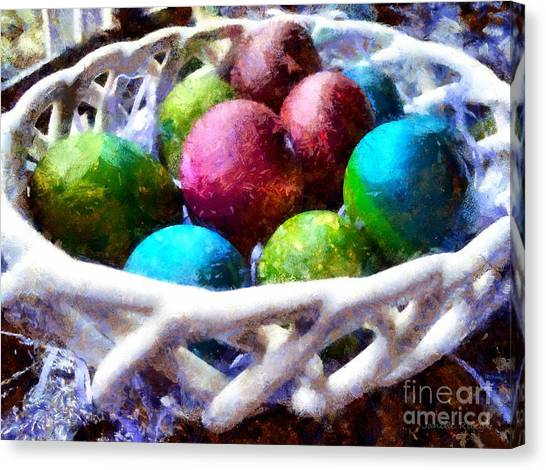 Easter Baskets Canvas Print - Painted Easter Eggs In A Basket by Janine Riley