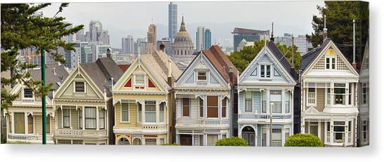 Painted Ladies Row Houses By Alamo Square Canvas Print