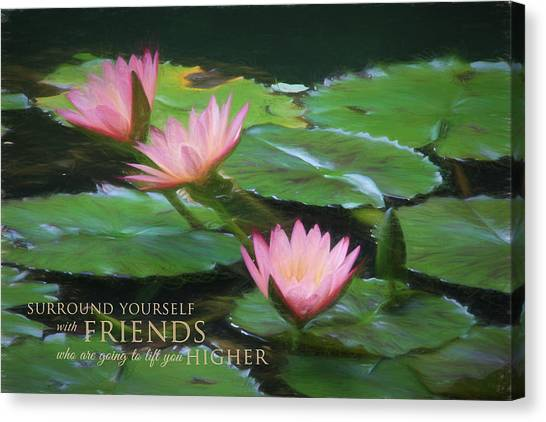 Painted Lilies With Message Canvas Print