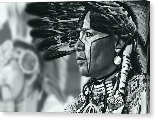 Painted Native In Silver Screen Tone Canvas Print by Scarlett Images Photography