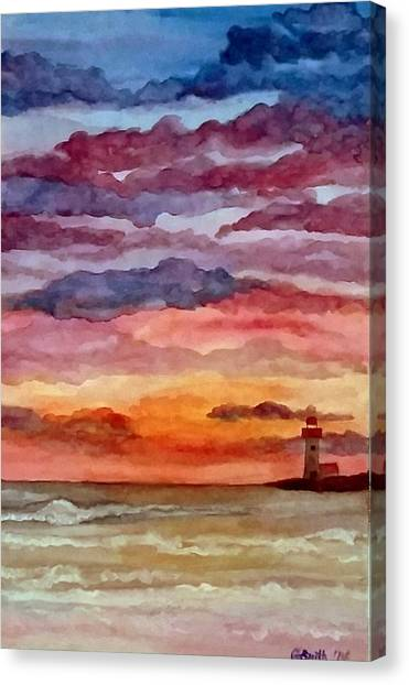 Painted Sky Over Ocean Canvas Print