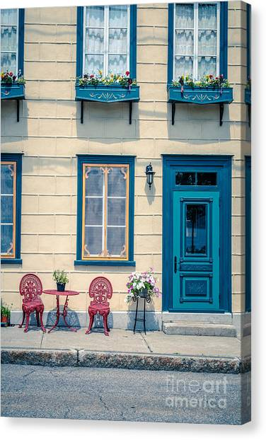 Quebec City Canvas Print - Painted Townhouse In Old Quebec City by Edward Fielding