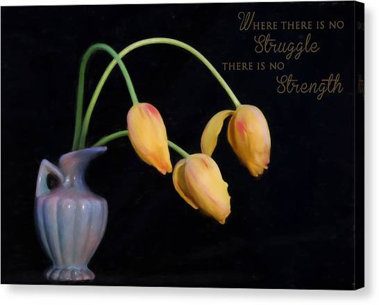 Painted Tulips With Message Canvas Print