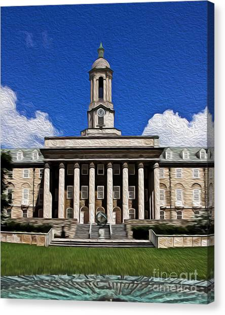 Pennsylvania State University Canvas Print - Painted View On Campus by Tom Gari Gallery-Three-Photography