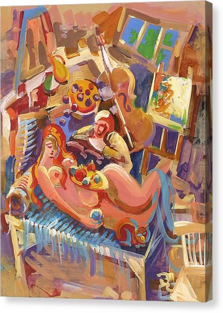 Painter In The Workshop Canvas Print by Meruzhan Khachatryan