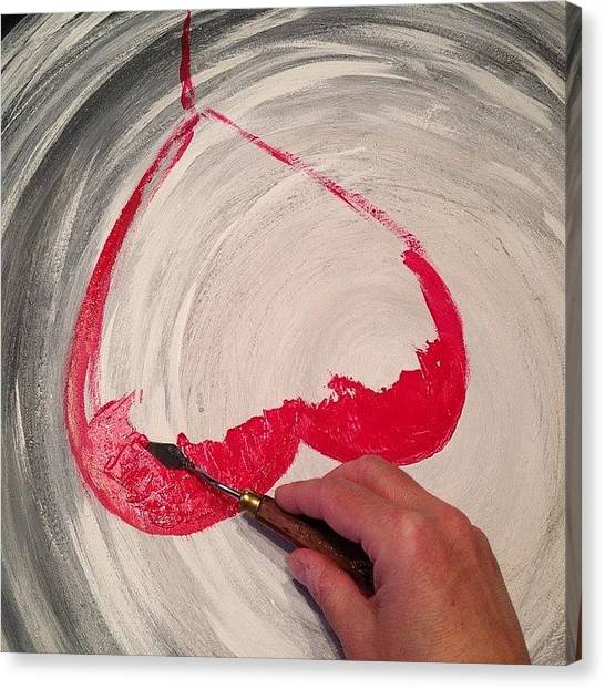 Red Canvas Print - Painting Again... #painting #process by Marianna Mills