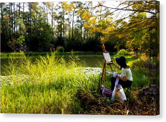 Painting At The Pond Canvas Print