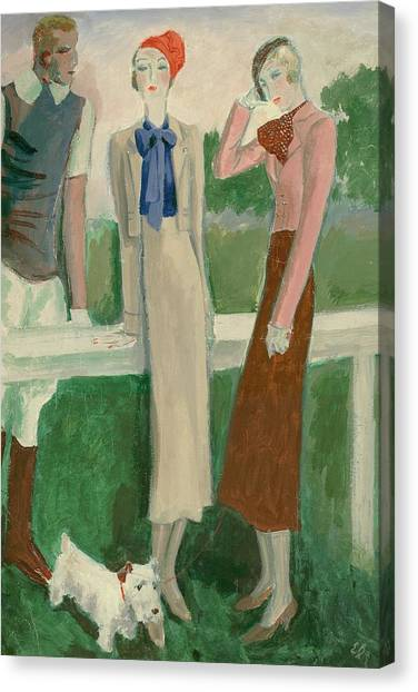 Painting Of A Fashionable Man And Two Women Canvas Print