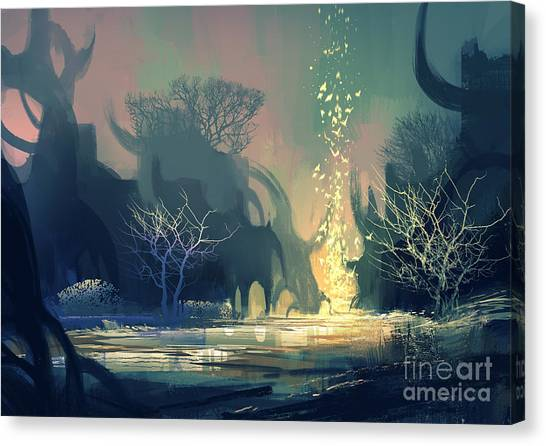 Concept Canvas Print - Painting Of Fantasy Landscape With by Tithi Luadthong