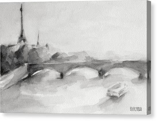 Eiffel Tower Canvas Print - Painting Of Paris Bridge On The Seine With Eiffel Tower by Beverly Brown Prints