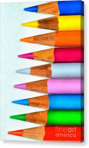 Wooden Canvas Print - Painting Of Pencils by George Atsametakis