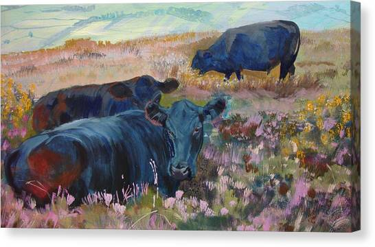 Painting Of Three Black Cows In Landscape Without Sky Canvas Print