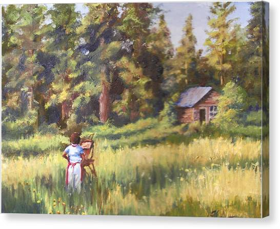 Painting Plein Aire In Idaho Canvas Print