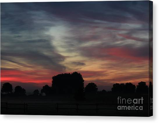 Painting Sunrise By Nature Canvas Print