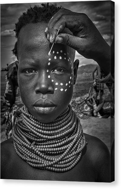 Necklace Canvas Print - Painting The Face Of A Karo Tribe Girl (omo Valley-ethiopia) by Joxe Inazio Kuesta