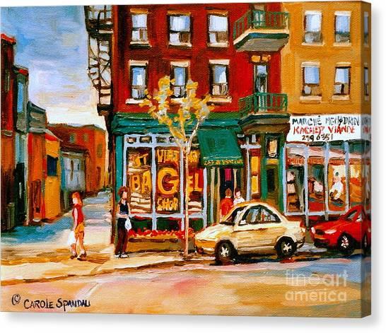 Paintings Of  Famous Montreal Places St. Viateur Bagel City Scene Canvas Print