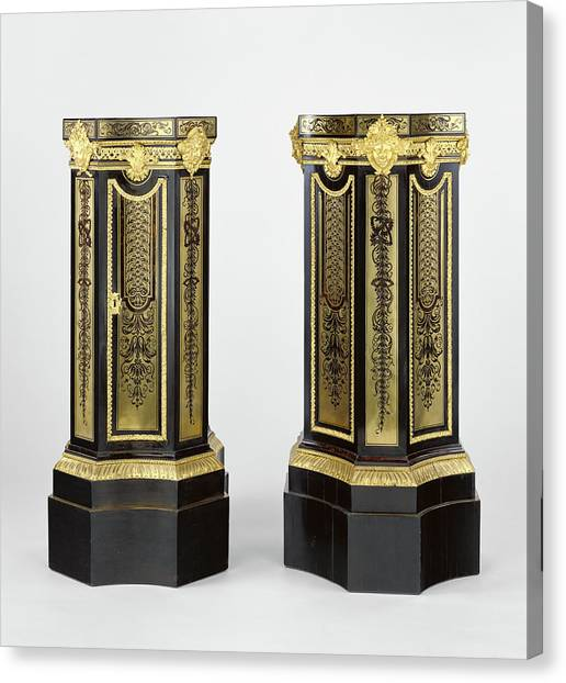 Dye Canvas Print - Pair Of Pedestals Attributed To André-charles Boulle by Litz Collection