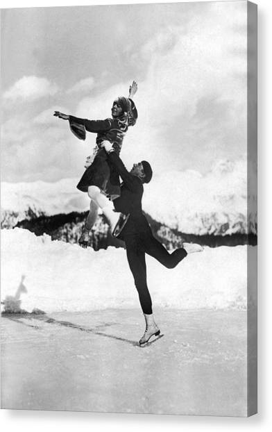 Figure Skating Canvas Print - Pairs Skaters Doing A Lift by Underwood Archives