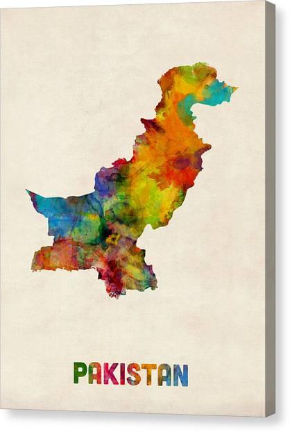 Asia Canvas Print - Pakistan Watercolor Map by Michael Tompsett