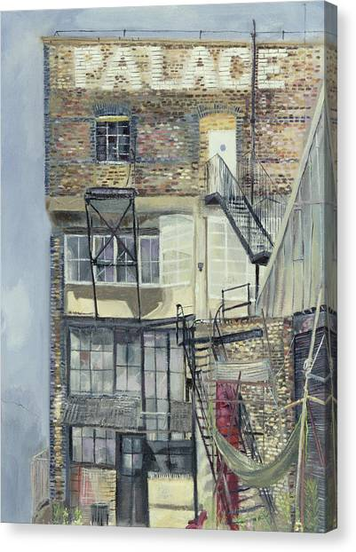Warehouses Canvas Print - Palace Wharf, Rainville Road Oil Pastel On Paper by Sophia Elliot