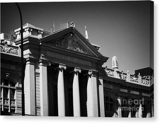 palacio de los tribunales de justica courts of justice palace Santiago Chile Canvas Print by Joe Fox
