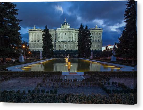 Real Madrid Canvas Print - Palacio Real Twilight by Jennifer Grover
