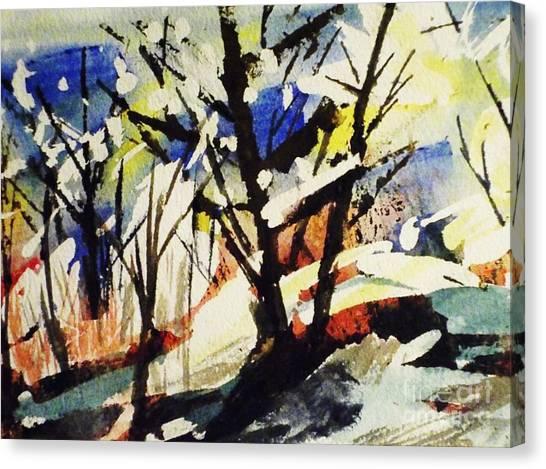 Splashy Art Canvas Print - Palenville Winter Abstract - Catskills by Ellen Levinson
