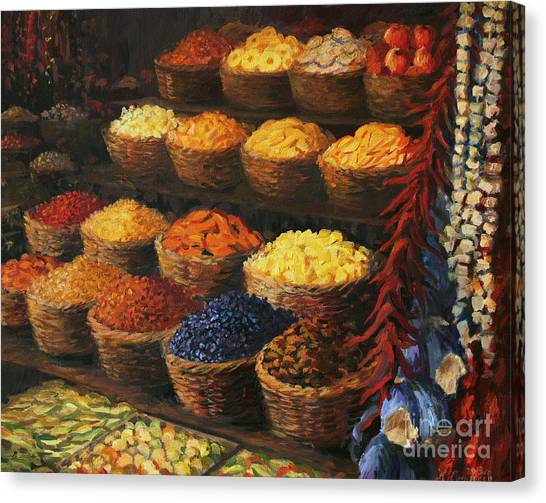 Market Canvas Print - Palette Of The Orient by Kiril Stanchev