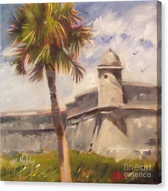 Palm At St. Augustine Castillo Fort Canvas Print