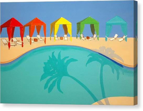 Palm Shadow Cabanas Canvas Print