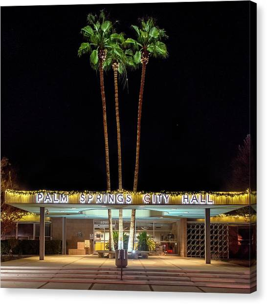 Palm Springs City Hall By Night Canvas Print