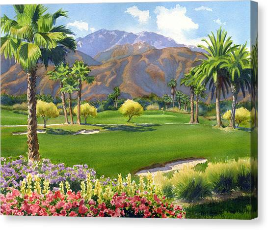 Mt. Rushmore Canvas Print - Palm Springs Golf Course With Mt San Jacinto by Mary Helmreich