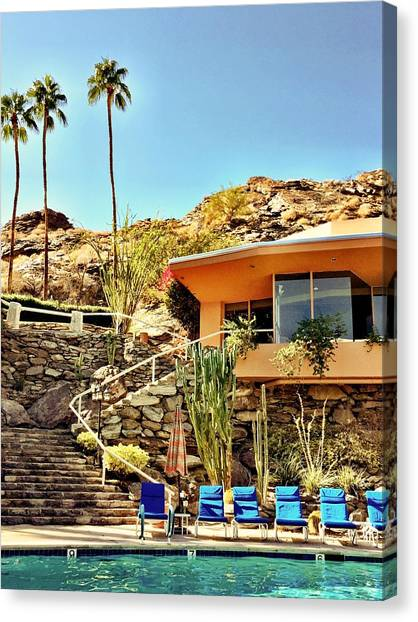 Landscape Canvas Print - Palm Springs Pool by Julie Gebhardt
