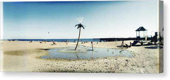 Island .oasis Canvas Print - Palm Tree Sprinkler On The Beach, Coney by Panoramic Images