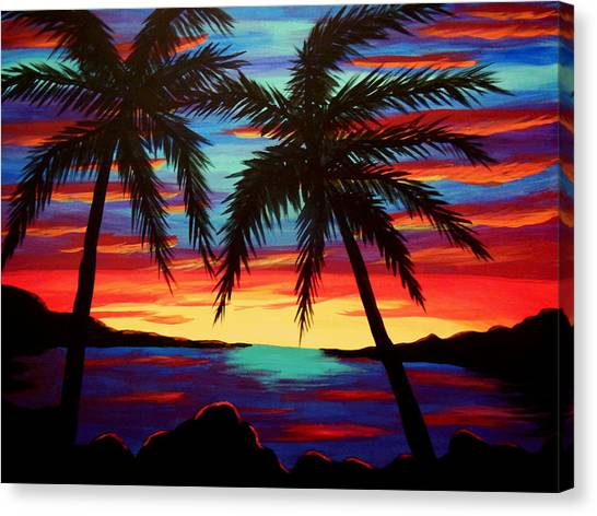 Palm Tree Sunset Canvas Print by Virginia Forbes