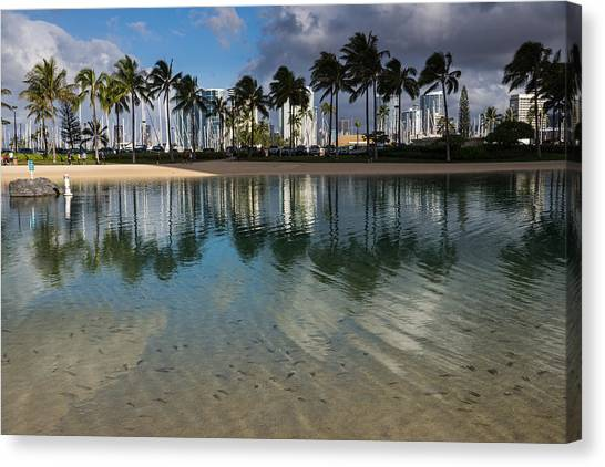 Palm Trees Crystal Clear Lagoon Water And Tropical Fish Canvas Print