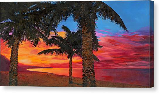 Palm Trees Sunsets Canvas Print - Palme Al Tramonto by Guido Borelli