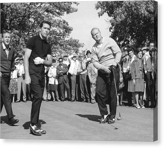 Arnold Palmer Canvas Print - Palmer, Player And Nicklaus by Underwood Archives