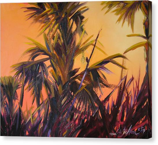 Palmettos At Dusk Canvas Print