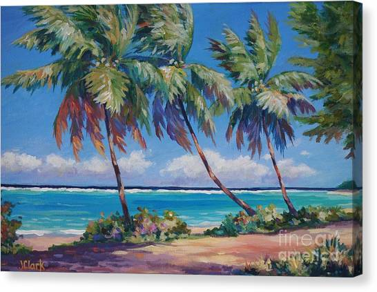 Bahamas Canvas Print - Palms At The Island's End by John Clark