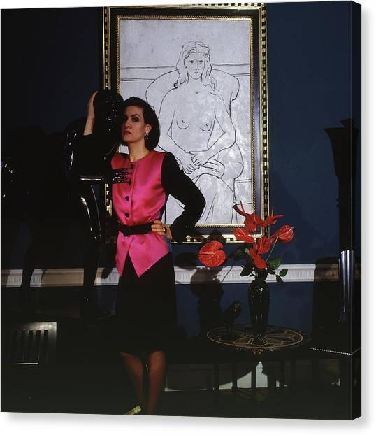Pablo Picasso Canvas Print - Paloma Picasso Wearing A Yves Saint Laurent by Horst P. Horst