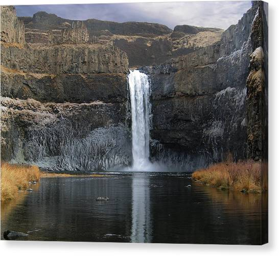 Palouse Falls In The Winter Canvas Print