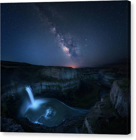 The Sky Canvas Print - Palouse Waterfall And The Milky Way by Jie Chen