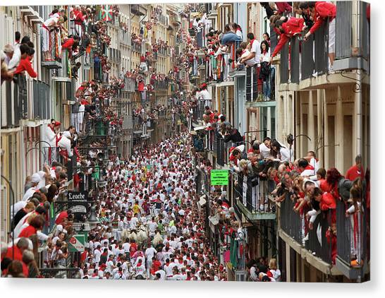 Pamplona Running Of The Bulls Canvas Print